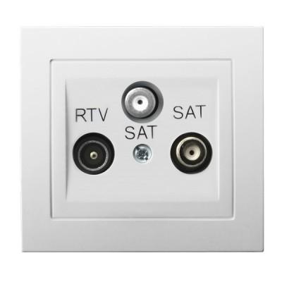Gniazdo RTV-SAT z dwoma wyjściami SAT KIER BIAŁY