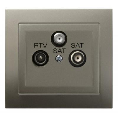 Gniazdo RTV-SAT z dwoma wyjściami SAT KIER SATYNA LIGHT