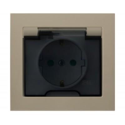 Gniazdo bryzgoszczelne z uziemieniem schuko IP-44 z przesłonami torów prądowych wieczko przezroczyste KIER BEŻOWY
