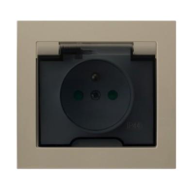 Gniazdo bryzgoszczelne z uziemieniem IP-44 z przesłonami torów prądowych wieczko przezroczyste KIER BEŻOWY