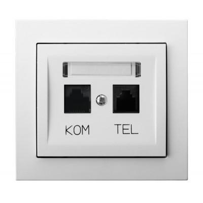 Gniazdo komputerowo-telefoniczne RJ 45 kat. 5e, (8-stykowe) + RJ 11 (6-stykowe) KIER BIAŁY