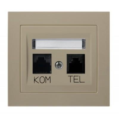Gniazdo komputerowo-telefoniczne RJ 45 kat. 5e, (8-stykowe) + RJ 11 (6-stykowe) KIER BEŻOWY