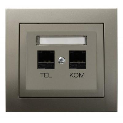 Gniazdo komputerowo-telefoniczne RJ 45 kat. 5e, (8-stykowe) + RJ 11 (6-stykowe) KIER SATYNA LIGHT