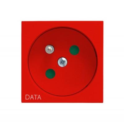 Gniazdo pojedyncze z uziemieniem DATA z przesłonami torów prądowych OSPEL45 CZERWONY