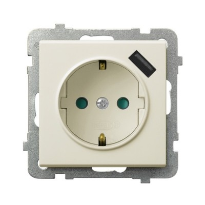 Gniazdo pojedyncze z uziemieniem schuko z przesłonami torów prądowych, z ładowarką USB SONATA ECRU