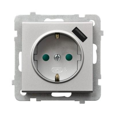 Gniazdo pojedyncze z uziemieniem schuko z przesłonami torów prądowych, z ładowarką USB SONATA SREBRO MAT