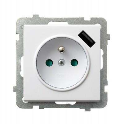 Gniazdo pojedyncze z uziemieniem z przesłonami torów prądowych, z ładowarką USB SONATA BIAŁY