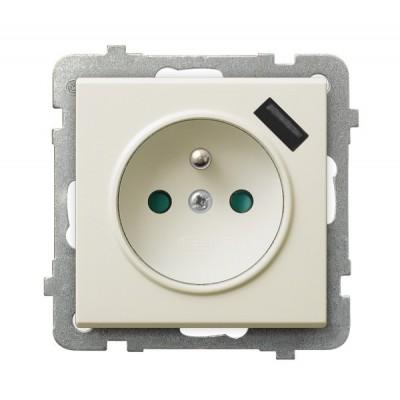 Gniazdo pojedyncze z uziemieniem z przesłonami torów prądowych, z ładowarką USB SONATA ECRU