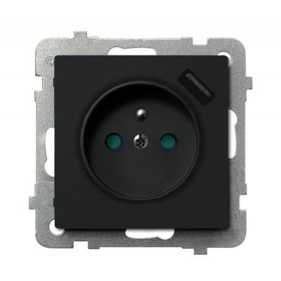 Gniazdo pojedyncze z uziemieniem z przesłonami torów prądowych, z ładowarką USB SONATA CZARNY METALIK