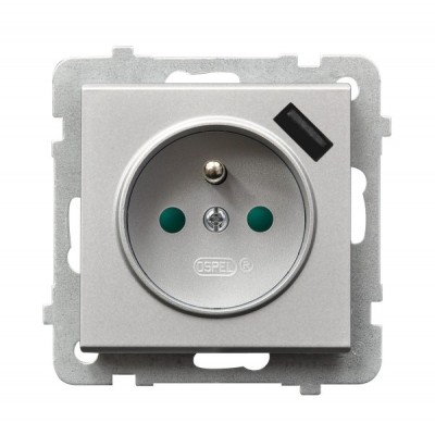 Gniazdo pojedyncze z uziemieniem z przesłonami torów prądowych, z ładowarką USB SONATA SREBRO MAT