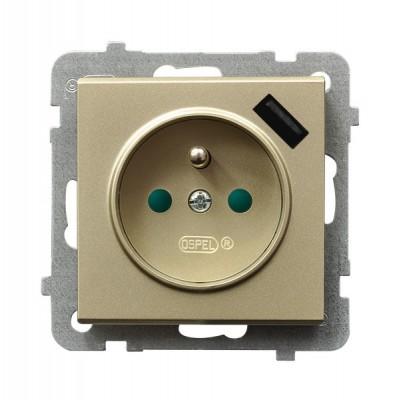 Gniazdo pojedyncze z uziemieniem z przesłonami torów prądowych, z ładowarką USB SONATA SZAMPAŃSKI ZŁOTY