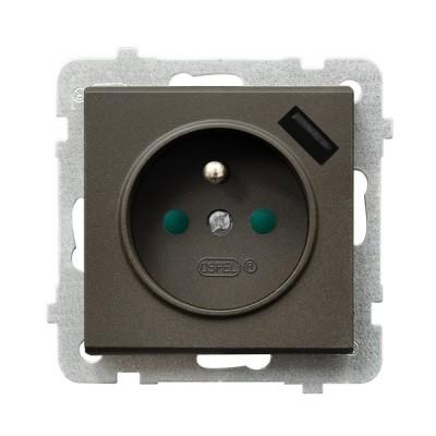 Gniazdo pojedyncze z uziemieniem z przesłonami torów prądowych, z ładowarką USB SONATA CZEKOLADOWY METALIK