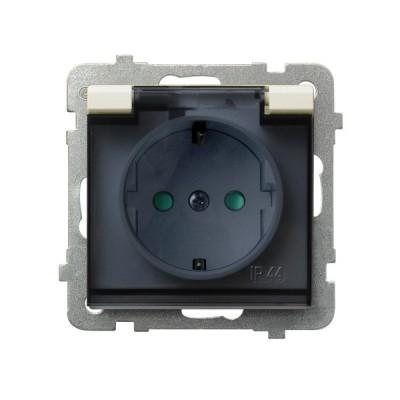 Gniazdo bryzgoszczelne z uziemieniem schuko IP-44 z przesłonami torów prądowych wieczko przezroczyste SONATA ECRU