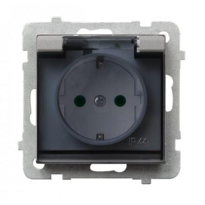 Gniazdo bryzgoszczelne z uziemieniem schuko IP-44 z przesłonami torów prądowych wieczko przezroczyste SONATA SREBRO MAT