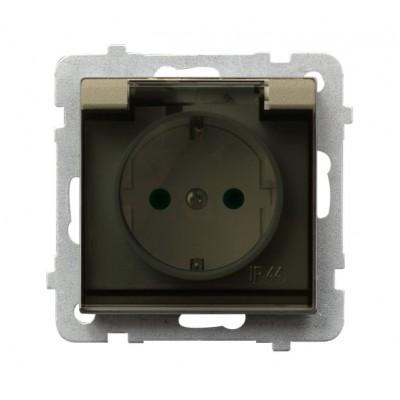Gniazdo bryzgoszczelne z uziemieniem schuko IP-44 z przesłonami torów prądowych wieczko przezroczyste SONATA SZAMPAŃSKI ZŁOTY