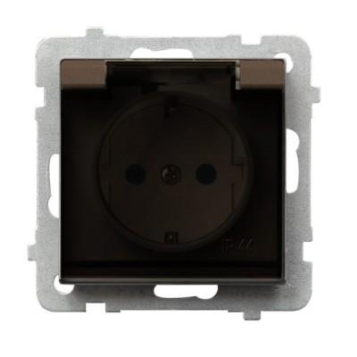Gniazdo bryzgoszczelne z uziemieniem schuko IP-44 z przesłonami torów prądowych wieczko przezroczyste SONATA CZEKOLADOWY METALIK