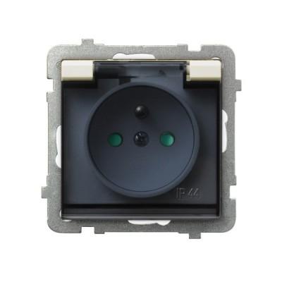 Gniazdo bryzgoszczelne z uziemieniem IP-44 z przesłonami torów prądowych wieczko przezroczyste SONATA ECRU