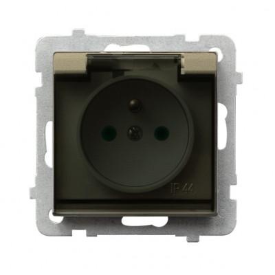 Gniazdo bryzgoszczelne z uziemieniem IP-44 z przesłonami torów prądowych wieczko przezroczyste SONATA SZAMPAŃSKI ZŁOTY