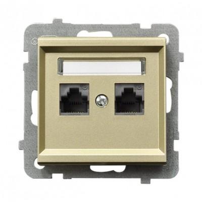 Gniazdo komputerowe podwójne, kat. 5e MMC SONATA SZAMPAŃSKI ZŁOTY